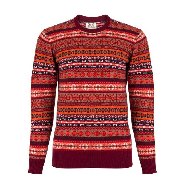 William Lockie Pullover Weintrot Lammwolle Fair Isle Rundhals