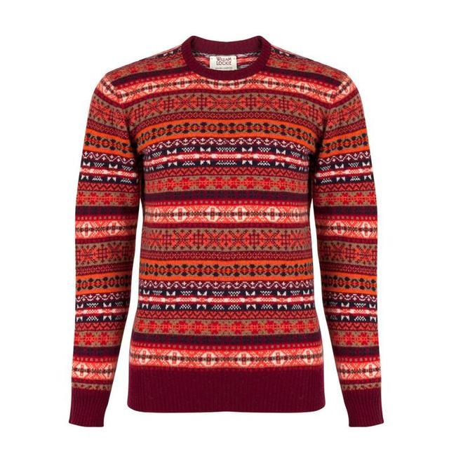 William Lockie Sweater Burgundy Lambswool Fair Isle Crew Neck