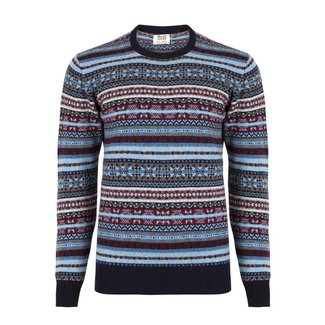 William Lockie Trui Blauw Lamswol Fair Isle Ronde Hals