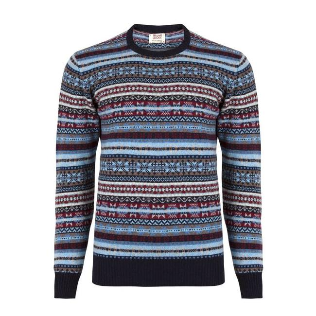 William Lockie Pullover Blau Lammwolle Fair Isle Rundhals