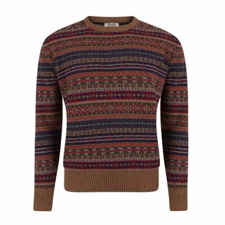 William Lockie Trui Bruin Lamswol Fair Isle Ronde Hals