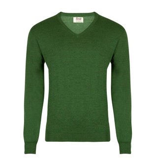 William Lockie Sweater Green Merino Wool Vintage V-Neck