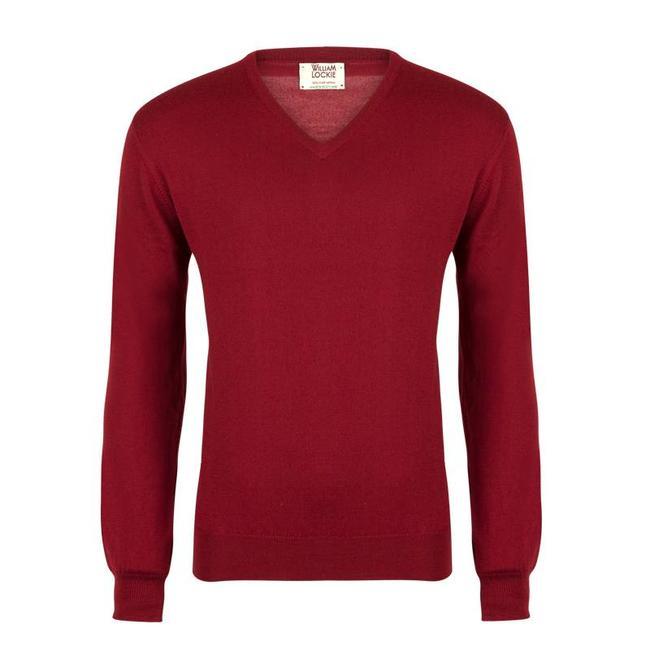 William Lockie Pullover Rot Merino Wolle Wintage V-Ausschnitt