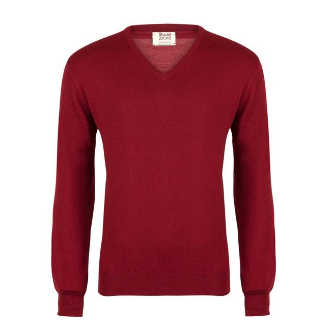 William Lockie Trui Rood Merino Wol Vintage V-Hals