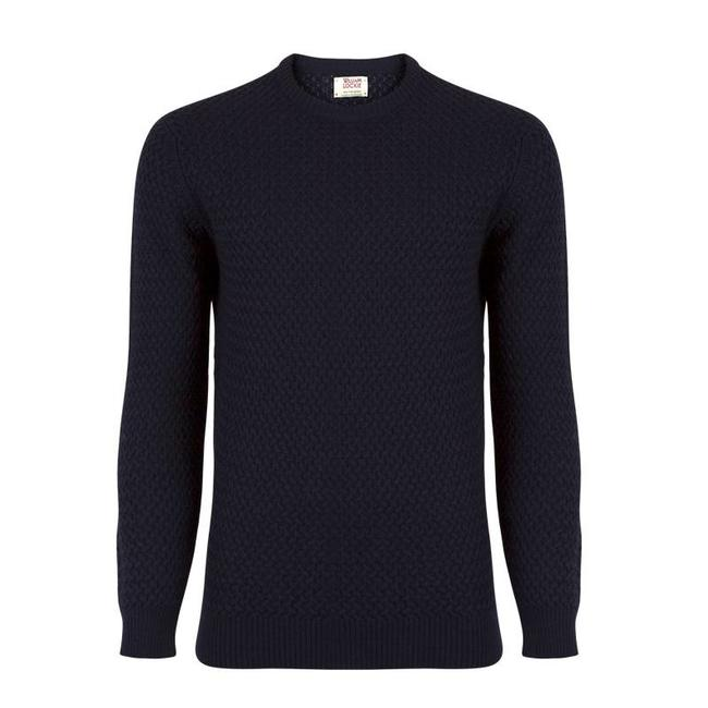 William Lockie Pullover Dunkelblau Interweave Merino Wolle