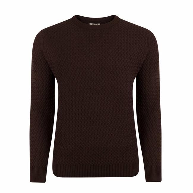 William Lockie Sweater Brown Interweave Merino Wool