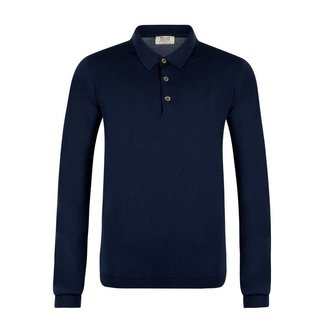 William Lockie Polo Blau Merino Wolle