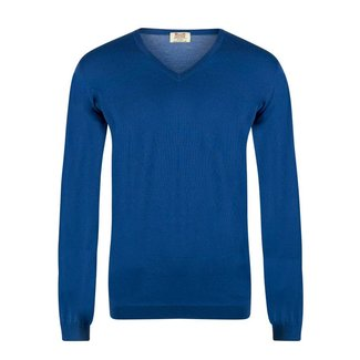 William Lockie Pullover Kobaltblau Superfine Merino Wolle