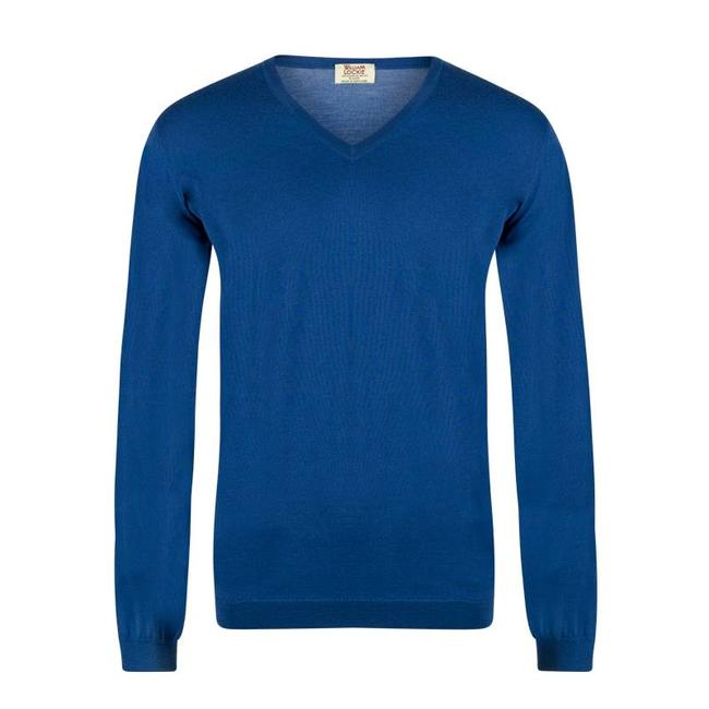 William Lockie Sweater Cobalt Blue Superfine Merino Wool