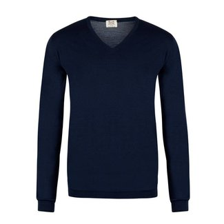 William Lockie Sweater Navy Superfine Merino Wool