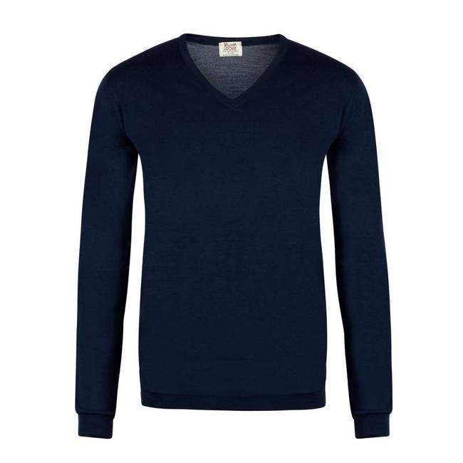 William Lockie Pullover Marine Superfine Merino Wolle