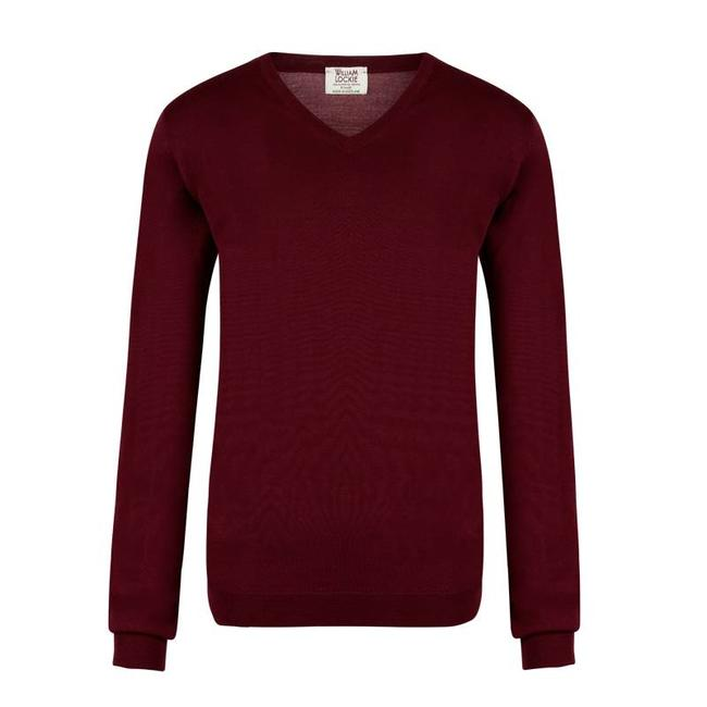 William Lockie Pullover Bordeaux Superfine Merino Wolle