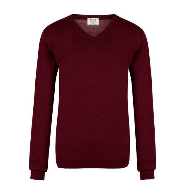 William Lockie Sweater Burgundy Superfine Merino Wool
