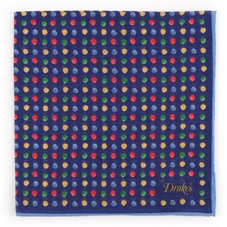 Drake's Pocket Square Blue Painted Spot Pattern
