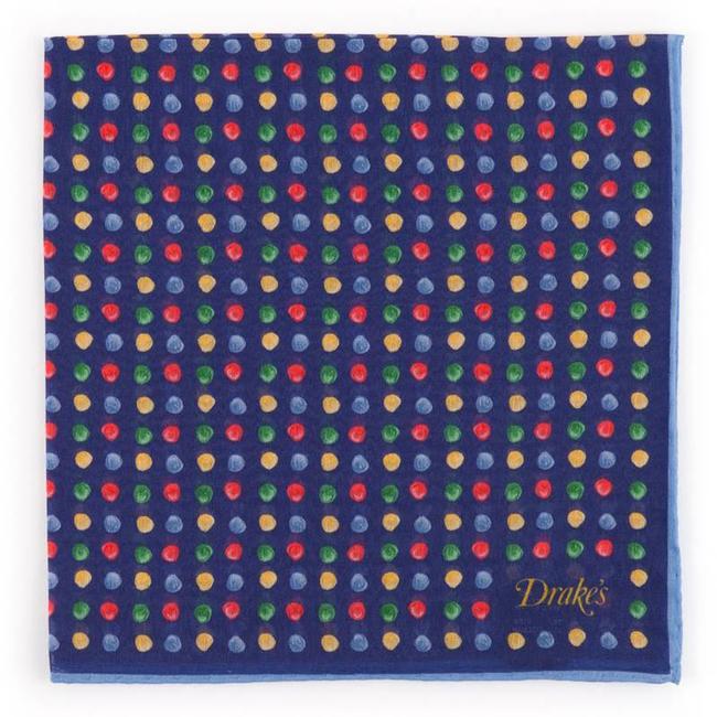 Drake's Einstecktüch Blau mit farbige Punkten