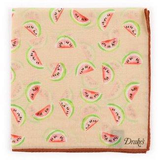 Drake's Pocket Square Beige Watermelon
