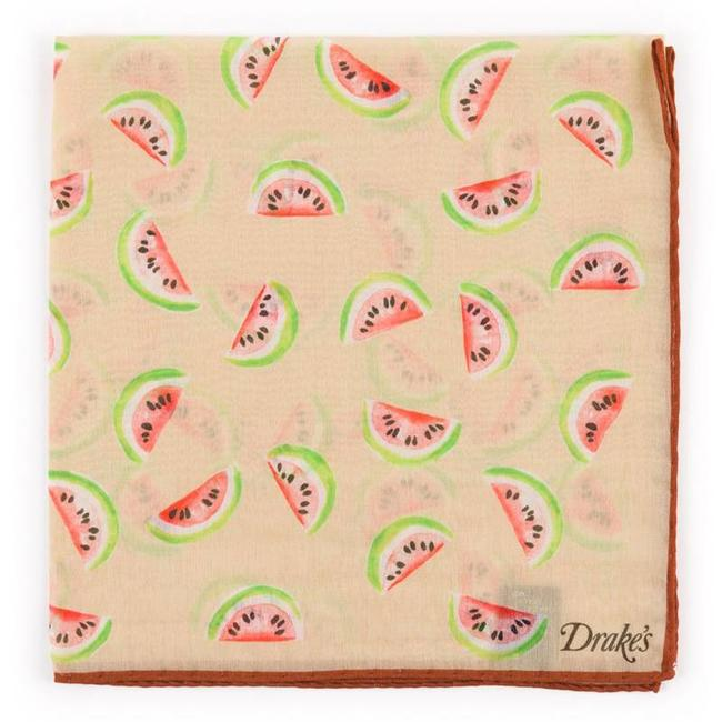 Drake's Pochet Beige Watermeloen Dessin