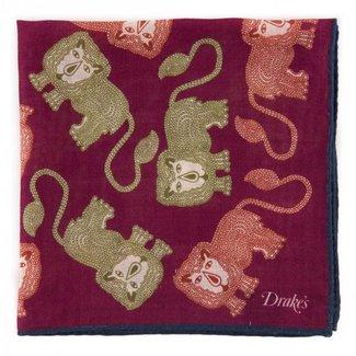 Drake's Pocket Square Purple Lion Print