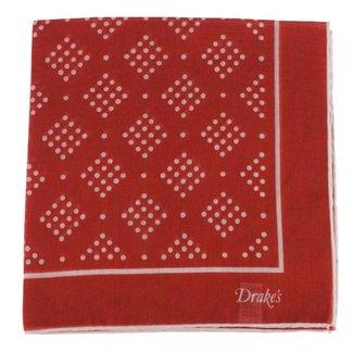 Drake's Pocket Square Red Diamond Spot Print