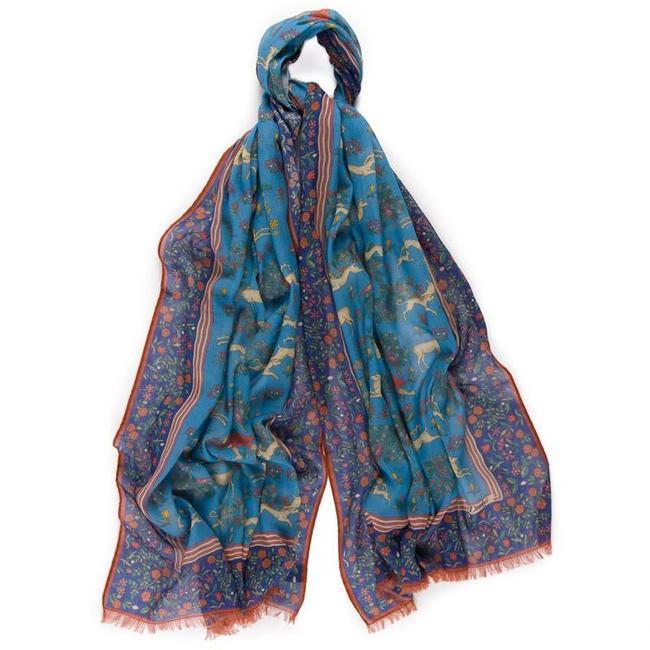 Drake's Schal Blau Hunting Baumwolle Modal Blend