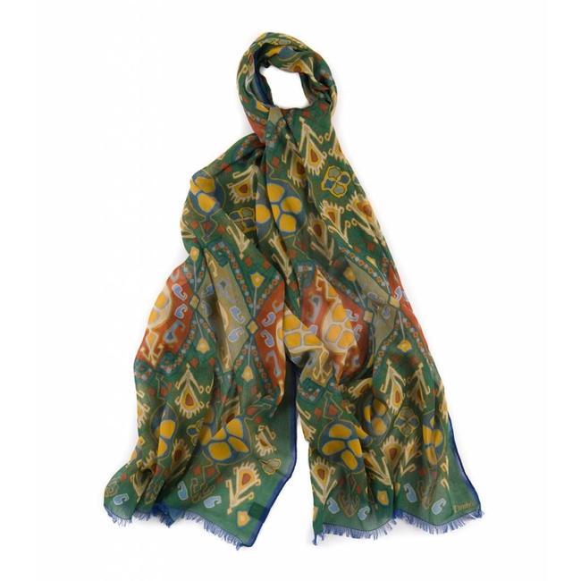 Drake's Sjaal Groen Floral Kelim Katoen