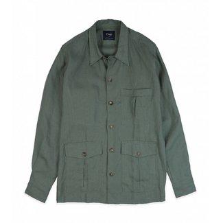 Drake's Herringbone Leinen Overshirt