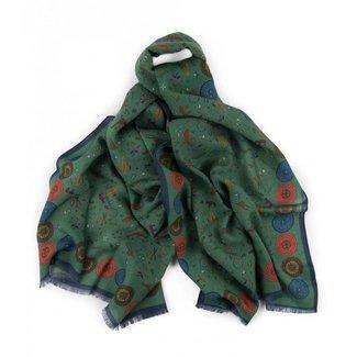 Drake's Scarf Green Animal Print Wool