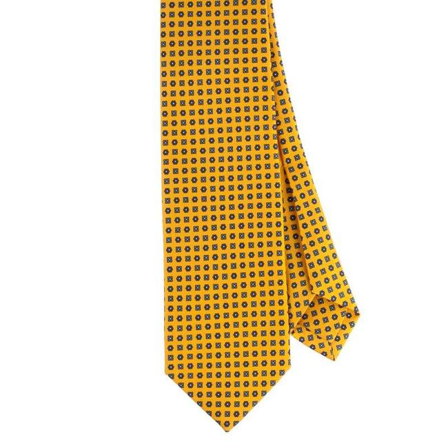 Drake's Tie Yellow Flower Print Silk