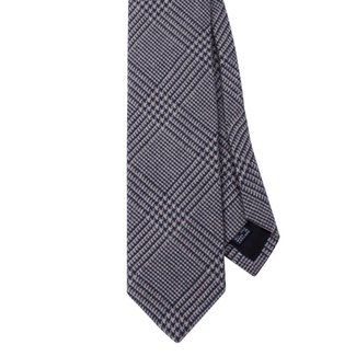 Drake's Tie Navy Woven Check Silk