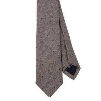 Drake's Tie Green Spot Design Linen Silk Blend