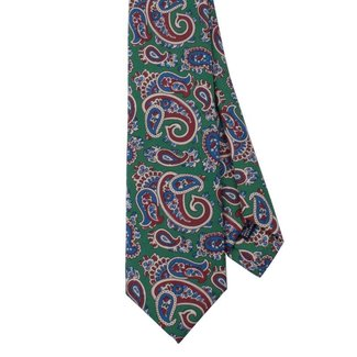 Drake's Tie Green Silk Paisley Print