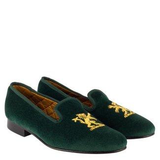 Mr. Crevan Velvet Slippers Green Rampant Lion