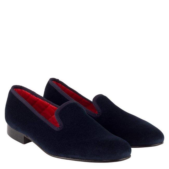 Mr. Crevan Velvet Slippers Donkerblauw