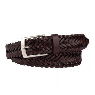 Mr. Crevan Woven Belt Dark Brown Leather