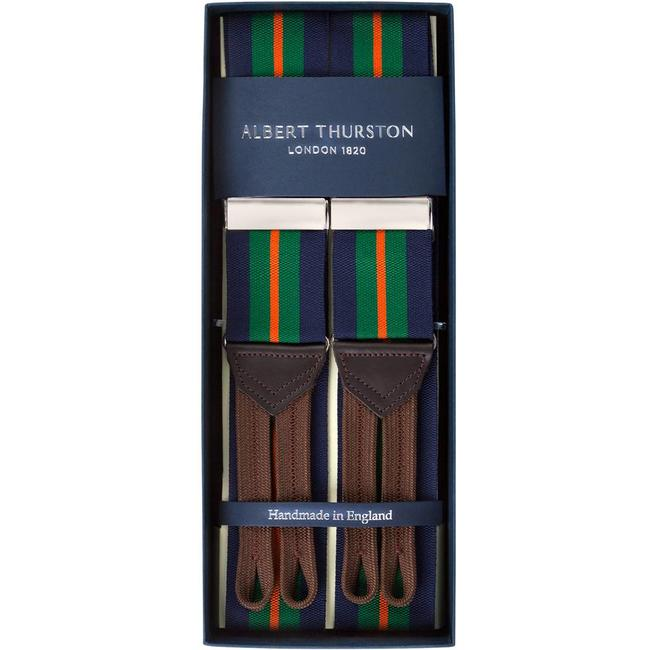 Albert Thurston Braces Navy Green Orange