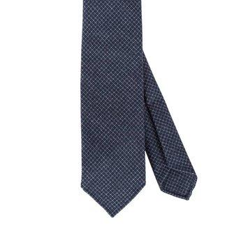 Drake's Krawatte Blau Kariert Wolle
