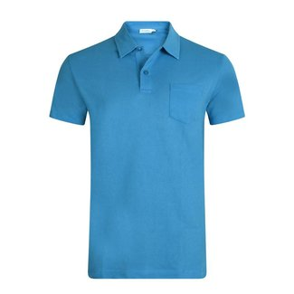 Sunspel Polo Blauw Riviera