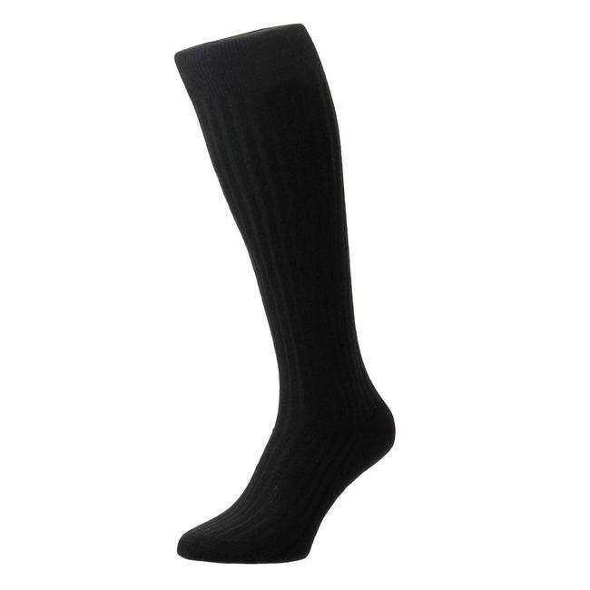 Pantherella OTC Socks Black Merino Wool Laburnum