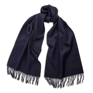 Begg & Co Lambswool Angora Scarf Navy