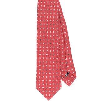 Drake's Krawatte Rot Blumenmuster Seide und Leinen