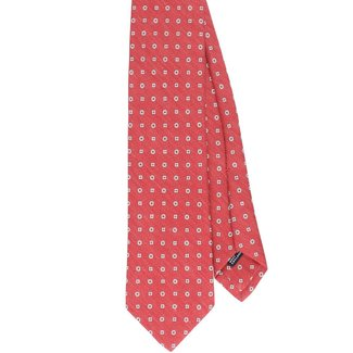 Drake's Tie Red Square and Flower Motif Silk and Linen