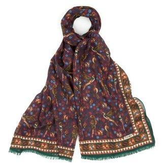 Drake's Schal Lila Vogel und Blumendruck Wolle und Seide