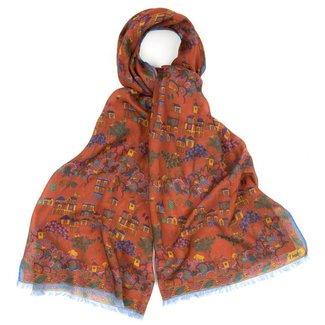 Drake's Scarf Rust Antique Village Print Wool and Silk