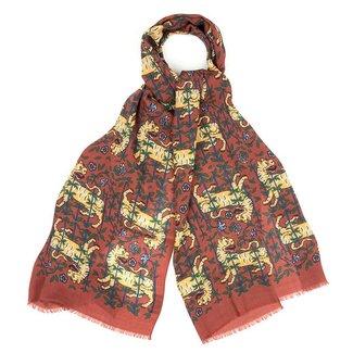 Drake's Sjaal Oranje Tijger Print Wol