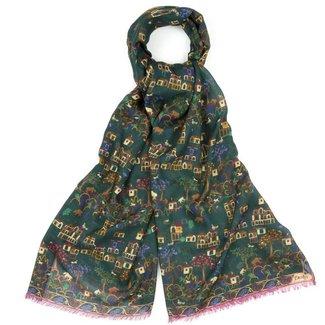 Drake's Scarf Green Antique Village Print Wool and Silk