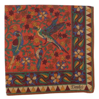 Drake's Einstecktüch Rostbraun Vogel und Blumendruck Wolle und Seide