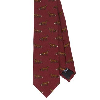 Drake's Tie Burgundy Fox Print Wool