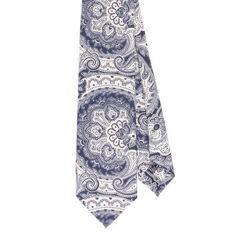 Drake's Tie Silk White Blue Paisley Design