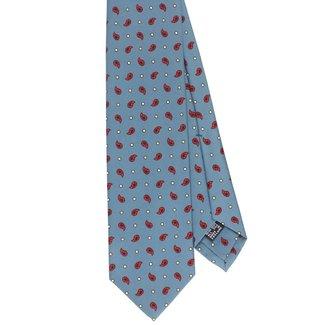 Drake's Tie Light Blue Paisley Print Silk