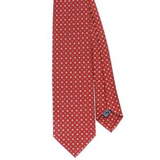 Drake's Tie Red Flower Print Silk